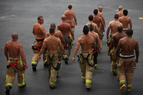 Here they are, the firemen converging on our front door.  Well, in my dreams this is how