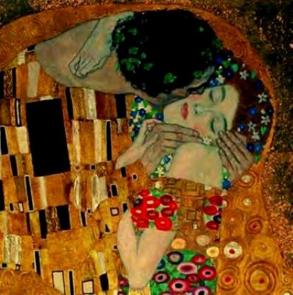 Detail of The Kiss by Gustav Klimt
