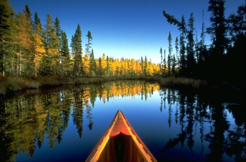 canoe in wilderness
