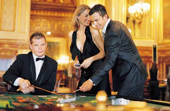Georgia and Alan gambling at the Casino de Monte Carlo